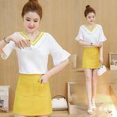 短袖裙裝夏季新品女裝V領短袖雪紡衫+包臀短裙兩件套小香風套裝連身裙 S-XXL