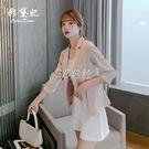 西裝外套 夏季新款七分袖西裝外套薄款女網紅修身顯瘦西服上衣女韓國 3c公社