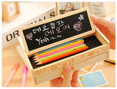 【00431 】韓國可愛鉛筆盒多 實木抽屜收納鉛筆盒附留言黑板開學文具文具筆筒