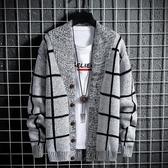 開衫外套秋冬季毛衣男針織衫青年韓版男士修身開衫加厚毛線衣格子外套男  夏季上新