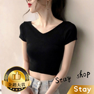 【Stay】韓版前後v領短款短袖上衣 短...