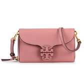 TORY BURCH McGraw雙T縫線皮革斜背包(粉紅色)150055