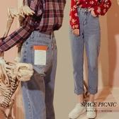 單寧 長褲 Space Picnic|洗標不收邊單寧牛仔直筒長褲(現貨)【C19123043】