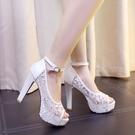中大尺碼女鞋 魚嘴涼鞋簡潔百搭側扣帶高跟鞋2021夏季新款網紗粗跟防水臺女鞋