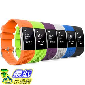 [106美國直購] 錶帶 MoKo Fitbit Charge 2 Band MoKo Soft Silicone Adjustable Length(130mm-195mm)