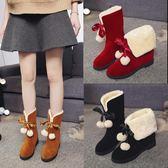 雪地靴女秋冬中筒短靴防滑加厚保暖學生女鞋加絨靴子