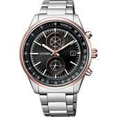 CITIZEN 星辰 限量 日本國家橄欖球隊計時錶-黑x玫瑰金圈/41mm CA7034-61E