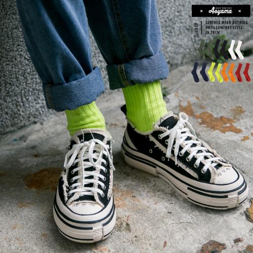襪子 粗坑條 素面 中筒襪 滑板 嘻哈 工裝搭配 滑板 嘻哈 大麻葉 滑板 穿搭 襪子【SWB0083】