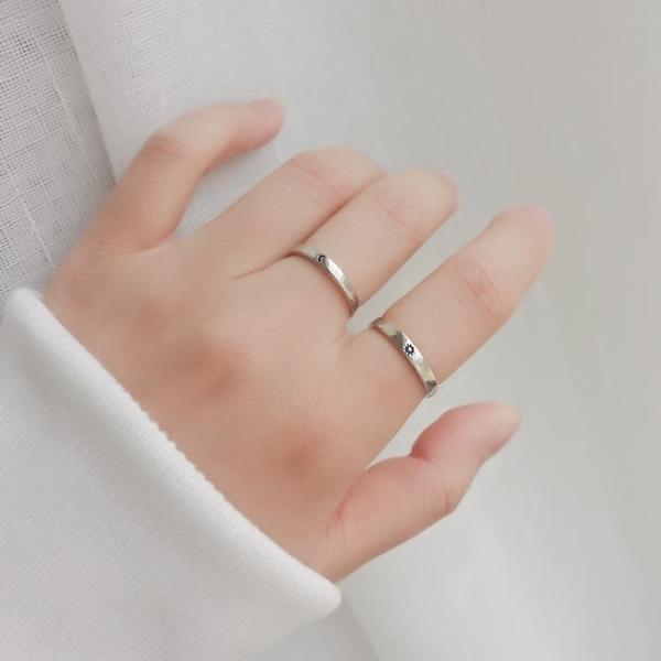 米蘭 小眾設計文藝范925純銀戒指女日月對戒太陽月亮閨蜜情侶禮物戒指