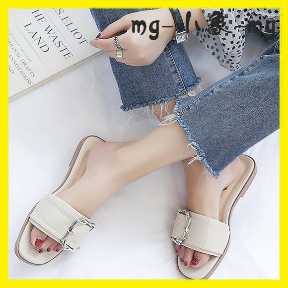 MG 外穿拖鞋-平底拖鞋韓版方扣一字拖百搭外穿防滑沙灘涼拖鞋