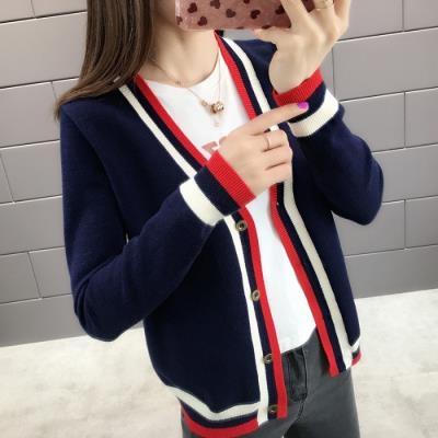 春裝女士針織開衫外套女春秋百搭韓版洋氣早春外穿潮A225T19A紅粉佳人