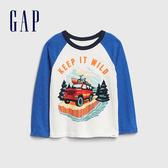 Gap男幼童 童趣創意印花圓領長袖T恤 617844-藍色拼接