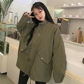 春裝新款韓版寬鬆復古中長款學生燈籠袖風衣學生休閒外套潮女