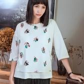 五分袖T恤-假兩件幾何圖形印花休閒女上衣73qu24【巴黎精品】