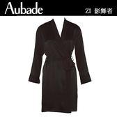 Aubade-影舞者L/XL蠶絲中長袖外袍(黑)ZI65