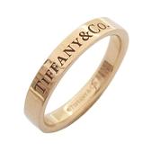 Tiffany & Co 蒂芬妮 LOGO 18K 玫瑰金戒指 Band Ring【二手名牌 BRAND OFF】