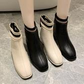 靴子.韓風時髦襪套撞色後拉鍊粗跟短靴.白鳥麗子