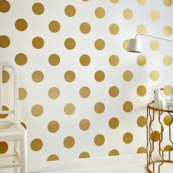 【進口牆紙】格蘭布朗(Graham & Brown)【52cm×10m/1卷】金黃色 圓點紋 兒童房 Dotty Gold 100105
