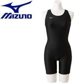胖媛的店 MIZUNO 美津濃 女 BASIC 連身泳裝 五分褲 黑 N2MG9C0309