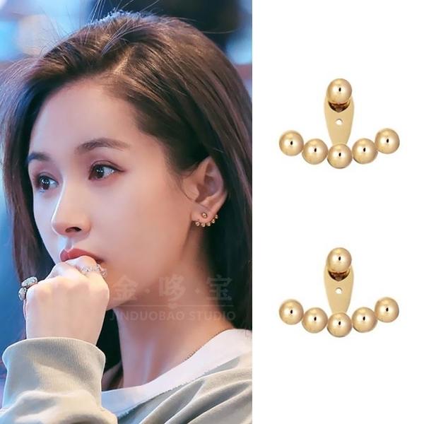 王子文同款耳環高級感小巧精致圓豆豆耳釘女耳飾925銀針扇形夏款