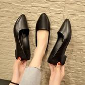 職業女鞋 舒適正裝禮儀職業鞋高跟鞋黑色女鞋2019鞋子單鞋中跟小皮鞋工作鞋 小宅女
