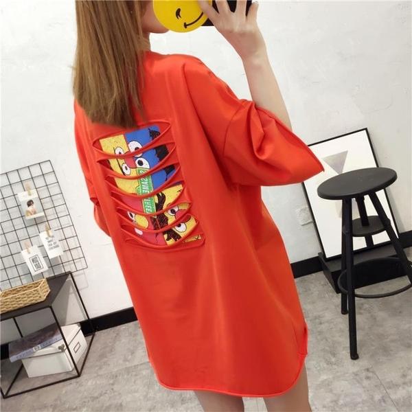 2020新款春季女裝上衣韓版寬鬆大碼中長款t恤女短袖紅色休閒t恤衫 藍嵐