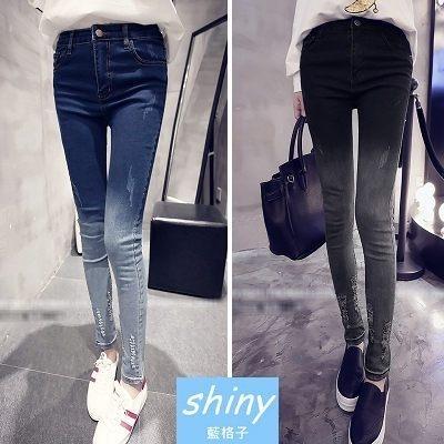 【V9019】shiny藍格子-簡單流線.修身顯瘦漸漸變色破洞緊身鉛筆小腳牛仔長褲