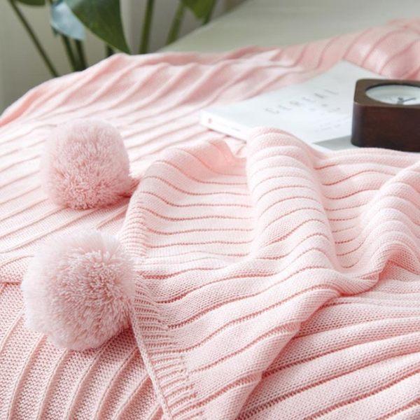 ins北歐大毛球單人全棉午睡空調薄毯子純棉針織毯沙發休閒小蓋毯