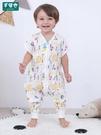 防踢被 嬰兒紗布睡袋分腿春夏薄款寶寶半袖防踢被空調房全純棉連體衣透氣 寶貝計書