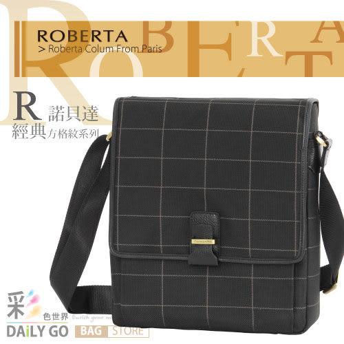 ROBERTA諾貝達斜背包包側背包公事包皮包-肩背包8003黑