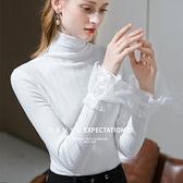 白色高領內搭長袖T恤喇叭袖(二色S-2XL可選)/設計家 AL301787