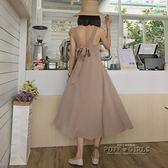 春季女裝新款蝴蝶結綁帶露背洋裝氣質中長款收腰吊帶格子中長裙