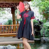 復古洋裝lolita漫展刺繡網紗拼接甜美連衣裙夏季女 艾尚旗艦店