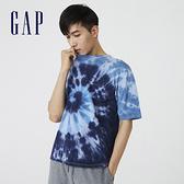 Gap男裝 厚磅密織系列超寬鬆紮染短袖T恤 755611-藍色紮染