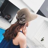 太陽帽女沙灘遮陽帽甜美海邊青年大草帽檐女士出遊英倫防曬帽子夏  韓語空間