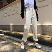 直筒牛仔褲S-XL韓版chic風半松緊高腰顯瘦寬松闊腿褲直筒純色牛仔褲長褲6670 R033-A 韓依紡