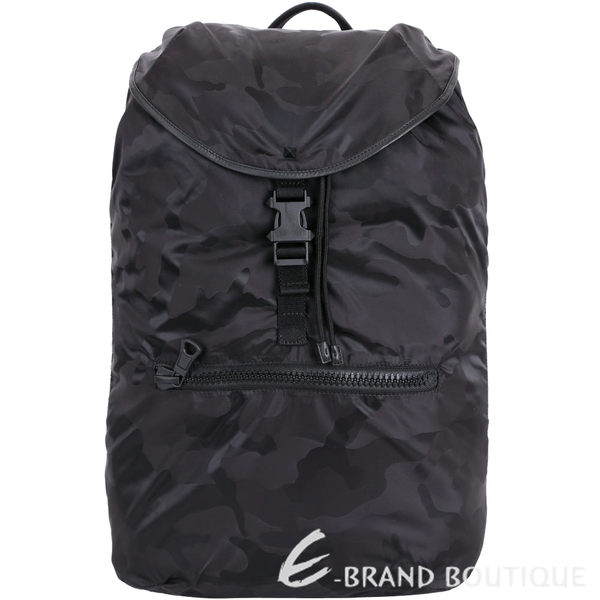 VALENTINO Camouflage 迷彩印花尼龍後背包(黑色) 1710749-01
