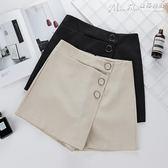 闊腿短褲短褲女夏春季高腰顯瘦黑色闊腿裙褲a字褲子西裝休閒褲裙 曼莎時尚