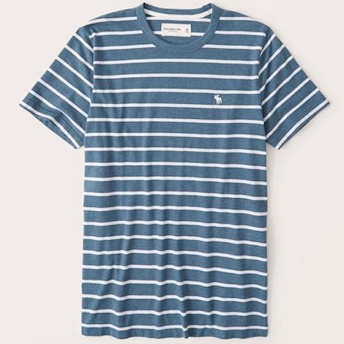 A&F 男棉質短袖T恤(條紋)