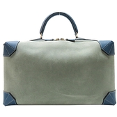 HERMES 愛馬仕 Maxi Box 37 麂皮拚S7 Bleu de Galice 加利西亞藍色牛皮波士頓手提包