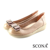 SCONA 蘇格南 全真皮 輕盈舒適OL厚底鞋 淺可可色 31050-2