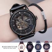 UBAOER摩登年代透明鏤空機芯全自動機械真皮手錶【WOB2001】璀璨之星☆