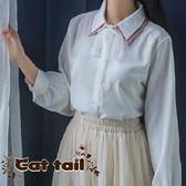 《貓尾巴》YS-0011 韓版拼接學院風休閒打底長袖襯衫(森林系 日系 棉麻 文青 清新)