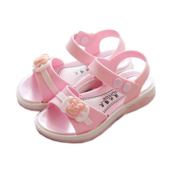2018新款兒童涼鞋女童公主鞋學生鞋軟底沙灘鞋女孩小中童平底涼鞋 父親節禮物 最後一天