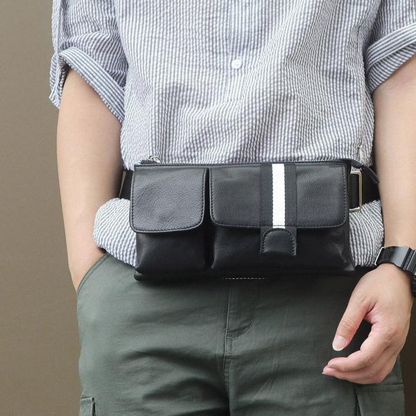 肩背包/腰包真皮-黑-條紋雙袋 男包 情人節生日禮物【ARSIM愛型包包】