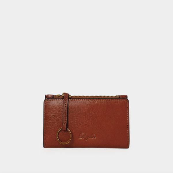R&BB真皮牛皮包包-質感簡約萬用多層卡夾零錢包/悠遊卡/鑰匙/皮夾-棕色