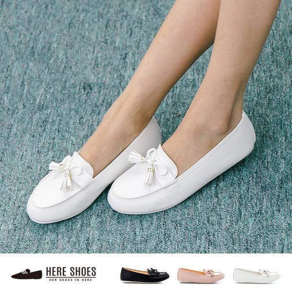 [Here Shoes]日系甜美 流蘇蝴蝶結 平底豆豆底 便鞋 娃娃鞋 懶人鞋 3色 ─ANW526