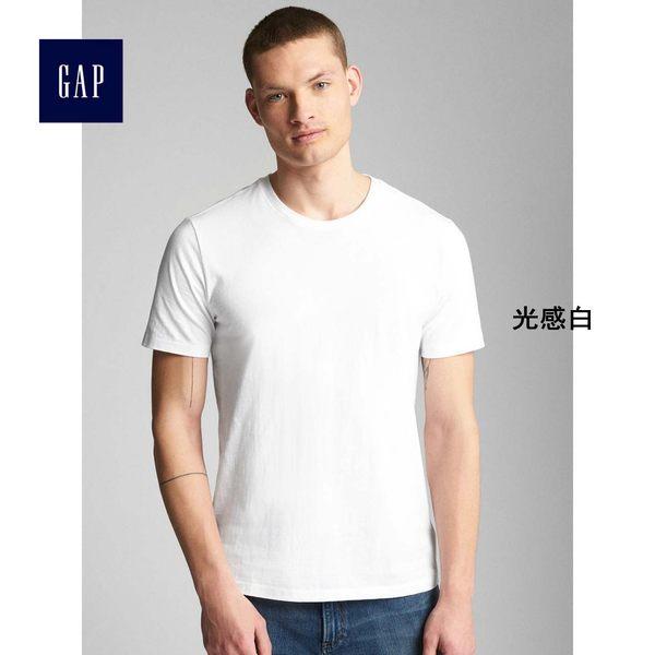 Gap男裝 基本款純色純棉柔軟短袖T恤男 768620-光感白