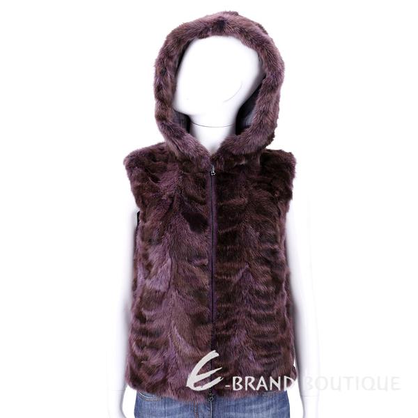 GRANDI furs 紫紅色連帽皮草拉鍊背心 1540561-87
