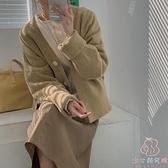 針織毛衣外套開衫外套加厚女素色秋冬【少女顏究院】